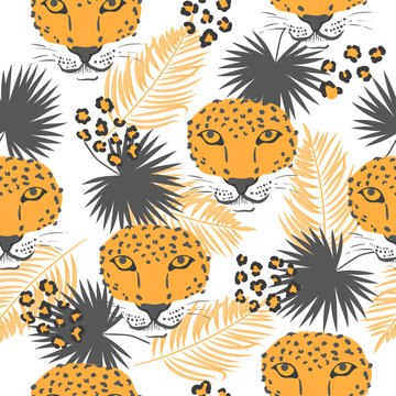 Vector seamless orange tropical pattern with leopard heads and palm leaves.