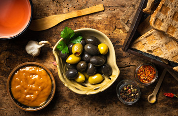 fresh olives with olive paste and ingredients