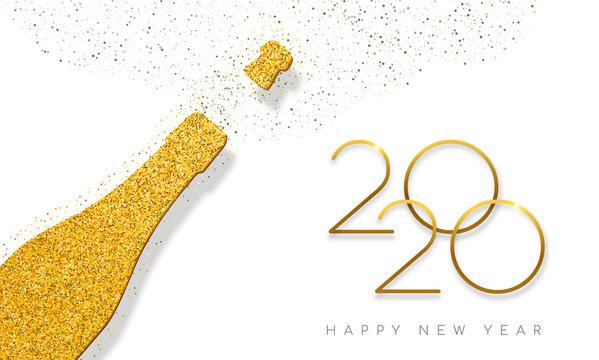 New Year 2020 gold glitter champagne bottle card