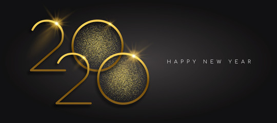 New Year 2020 gold glitter black background card Fototapete