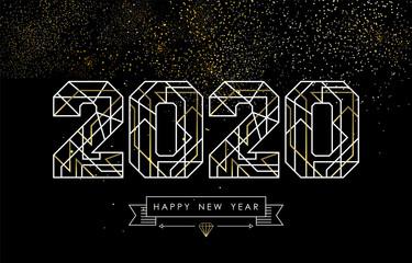 Wall Mural - New Year 2020 gold glitter firework art deco card