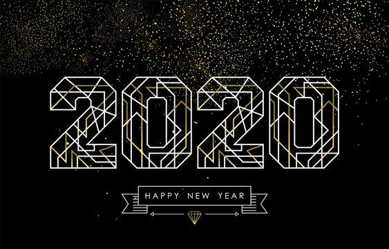 New Year 2020 gold glitter firework art deco card