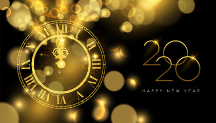 Wall Mural - Happy New Year 2020 gold midnight clock party card