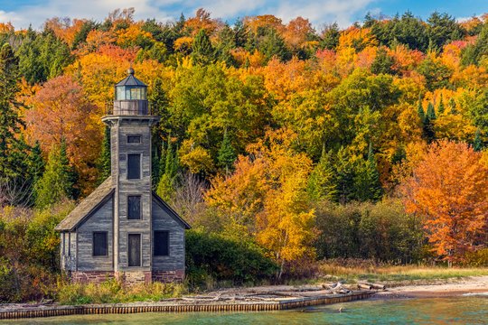 Picture Rock Boat Cruise; Munising, Michigan; East Channel Lighthouse on Grand Island