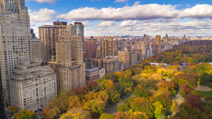 Aluminium Prints New York Fall Color Autumn Season Buildings of Central Park West NYC