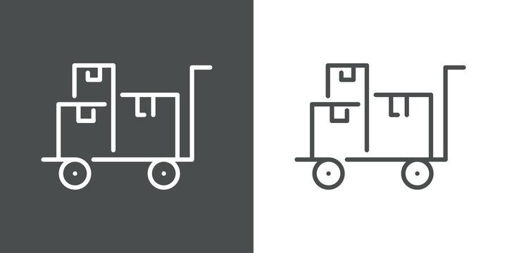 Símbolo logística con icono lineal de cajas de cartón en carro de mano en fondo gris y fondo blanco