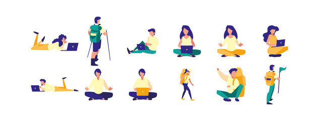 Variety avatar people icon set pack vector design