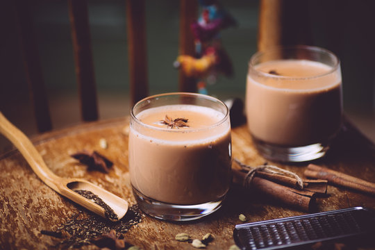 Masala tea ( Masala chai). A traditional hot drink in India and South Asia. Black tea with milk and spices