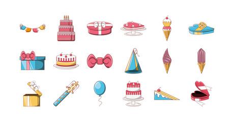 Variety happy birthday icon set pack vector design