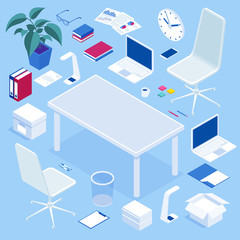 Big isometric office furniture set. Create your office for advertising, website, banners, and presentations. Office room furniture icon set