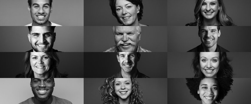Group of people in front of a black background