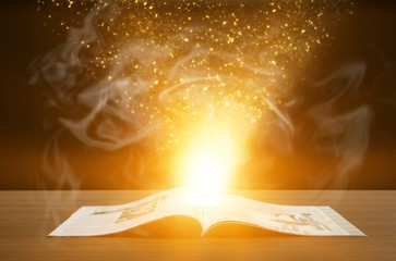 Wall Mural - Open vintage book on wooden table, magic spell