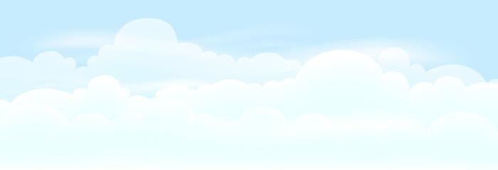 Printed kitchen splashbacks Light blue Vector Nature landscape background of blue sky and fluffy white clouds. illustration skyline for banner or spring summer background