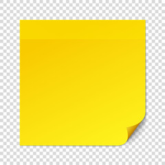 Yellow sticky note on transparent texture background. Removable self-stick note. Reminder list, message stick, remember task. Office paper sticker. Vector