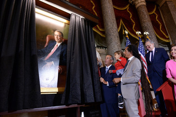 Former House Speaker John Boehner, along with his family and members of Congress, unveils the Congressional portrait of Boehner at the U.S. Capitol in Washington