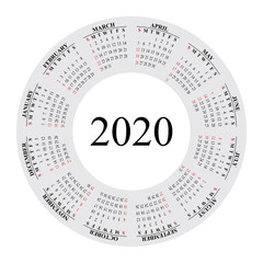 Design of round calendar for 2020 year. Vector EPS10.