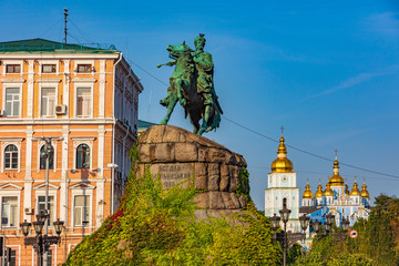 Wall Murals Kiev Monument Bohdan-Khmelnytsky Sofiivska Square Landmark of Kiev Ukraine Europe