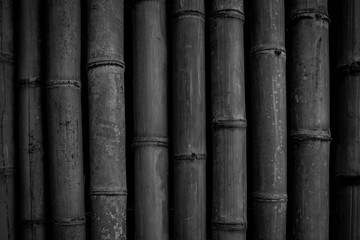 Black bamboo wall texture background.