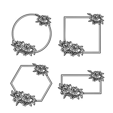 Floral geometric frames collection. Round rose frames. Decorative design elements. Vector illustration