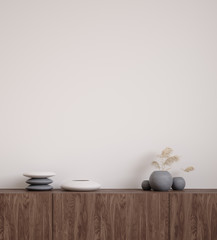 Wall mock up closeup with stones and grass in vase on cupboard, 3d render