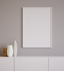 Poster mock up closeup with vases on chest of drawers,minimalist design, 3d render