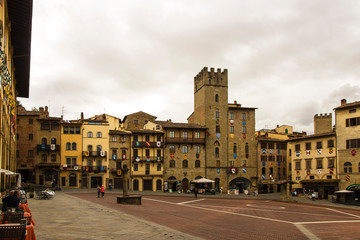 Beautiful buildings around the Piazza Grande in Arezzo, Tuscany, Italy