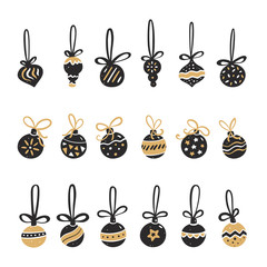 Set of Christmas balls in black and gold style. Vector illustration in hand drawn of style.