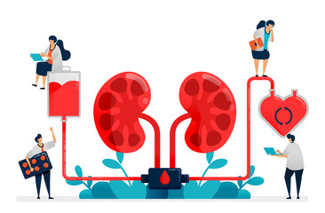 doctors perform dialysis, medicine treatment of kidney failure, hospital and clinic medical facilities, blood purification and cleaning. Illustration for business card, banner, brochure, flyer, ads