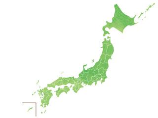 地方区分日本地図 水彩風