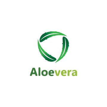Aloe vera logo vector illustration template