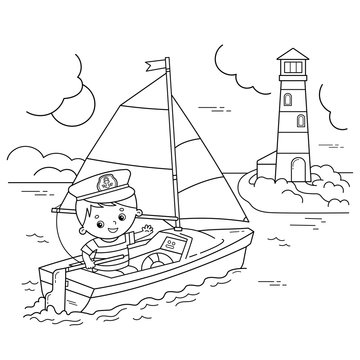Coloring Page Outline of cartoon sail ship with sailor on the deck. Profession. Coloring book for kids.