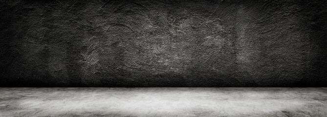 Abstract Black and White of Studio dark room black concrete grunge wall with concrete floor. Fototapete