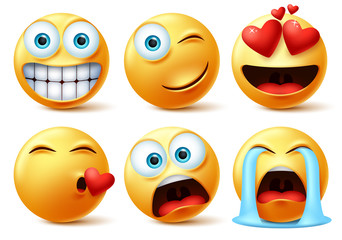 Emojis and emoticons face vector set. Emoticon of cute yellow faces in kissing, in love, crying, surprise, and happy facial expressions isolated in white background. Vector illustration.