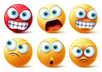 Emoticons face vector set. Emojis yellow icon and emoticon faces with angry red, surprise, cute, crazy and funny facial expressions design elements isolated in white background. Vector illustration.