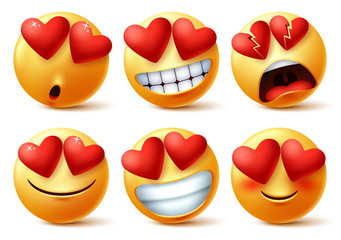 Emoticons or emojis face with heart eye vector set. Emoji of red hearts with in love, broken, blissful, happy and funny for love sign and symbol isolated in white background. Vector illustration.