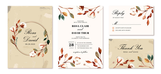wedding invitation set with cotton flower background Fototapete