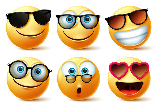 Emoji or emoticon faces wearing sunglasses and eyeglasses vector set. Emoticons or icon face head in surprise, cute, happy and surprise with shades isolated in white background. Vector illustration.