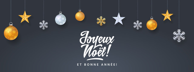 Joyeux Noel - Merry christmas in french language black card template with decorative design elements, snowflakes, stars and calligraphy
