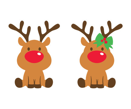 Vector illustration of cute baby reindeer.