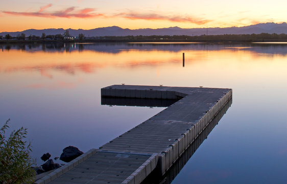 Sunset Over A Lake in Longmont, Colorado