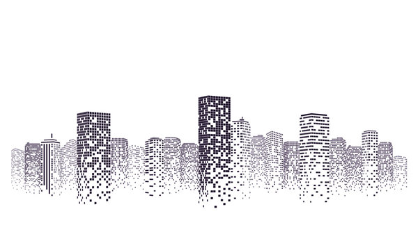 Silhouette city scape Isolated or white background. Modern flat design. Futuristic technology concept. Vector illustration.