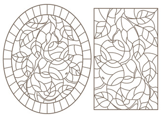 Set of contour illustrations of stained glass Windows with tree branches, Apple tree branch with ripe fruit and leaves, dark contours on white background