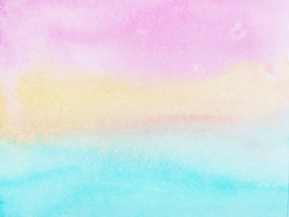 watercolor hand drawn on paper pastel background pink yellow and blue.