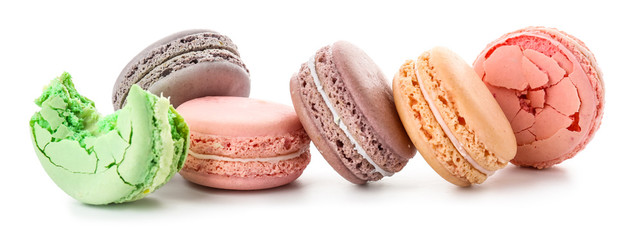 Canvas Prints Macarons Different tasty macarons on white background