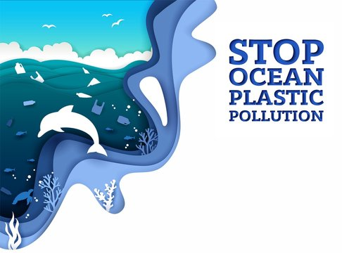 Stop ocean plastic pollution vector paper art poster banner template