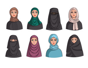 Vector set with arab and eastern women. Muslim clothes and shit. Illustrations fo use in design