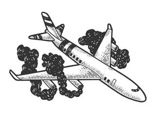 Obraz Airplane crash sketch engraving vector illustration. T-shirt apparel print design. Scratch board style imitation. Hand drawn image. - fototapety do salonu