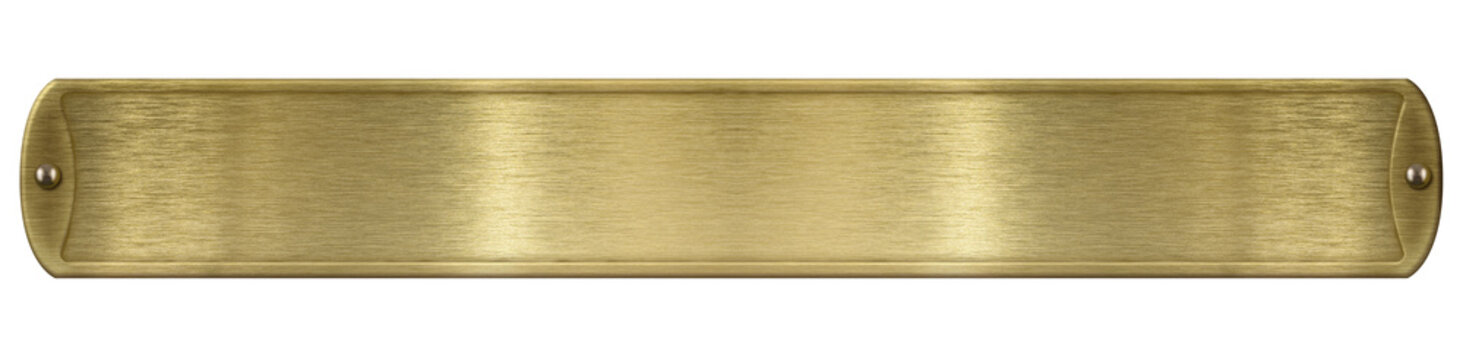 Gold or brass brushed metal plate isolated with clipping path included