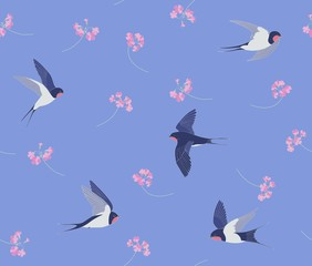 Swallows and flowers pattern seamless vector. Flying birds on a blue background and pink flowers.