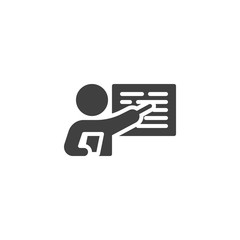 Obraz Business Presentation vector icon. filled flat sign for mobile concept and web design. Teacher, instructor teaching glyph icon. Symbol, logo illustration. Vector graphics - fototapety do salonu